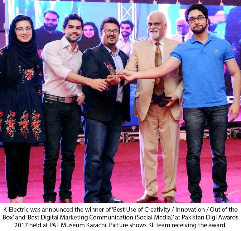 K-ELECTRIC BAGS TWO AWARDS AT PAKISTAN DIGI AWARDS 2017
