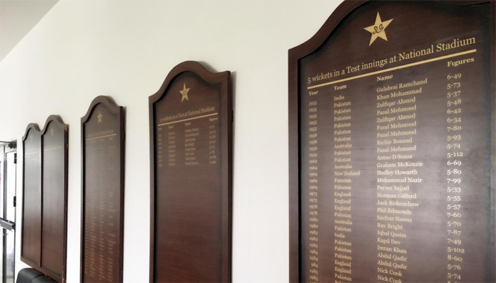 honour board in National Stadium Karachi