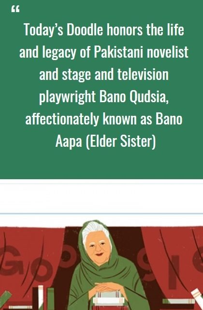 Google Doodle honours Bano Qudsia on her 92nd birthday