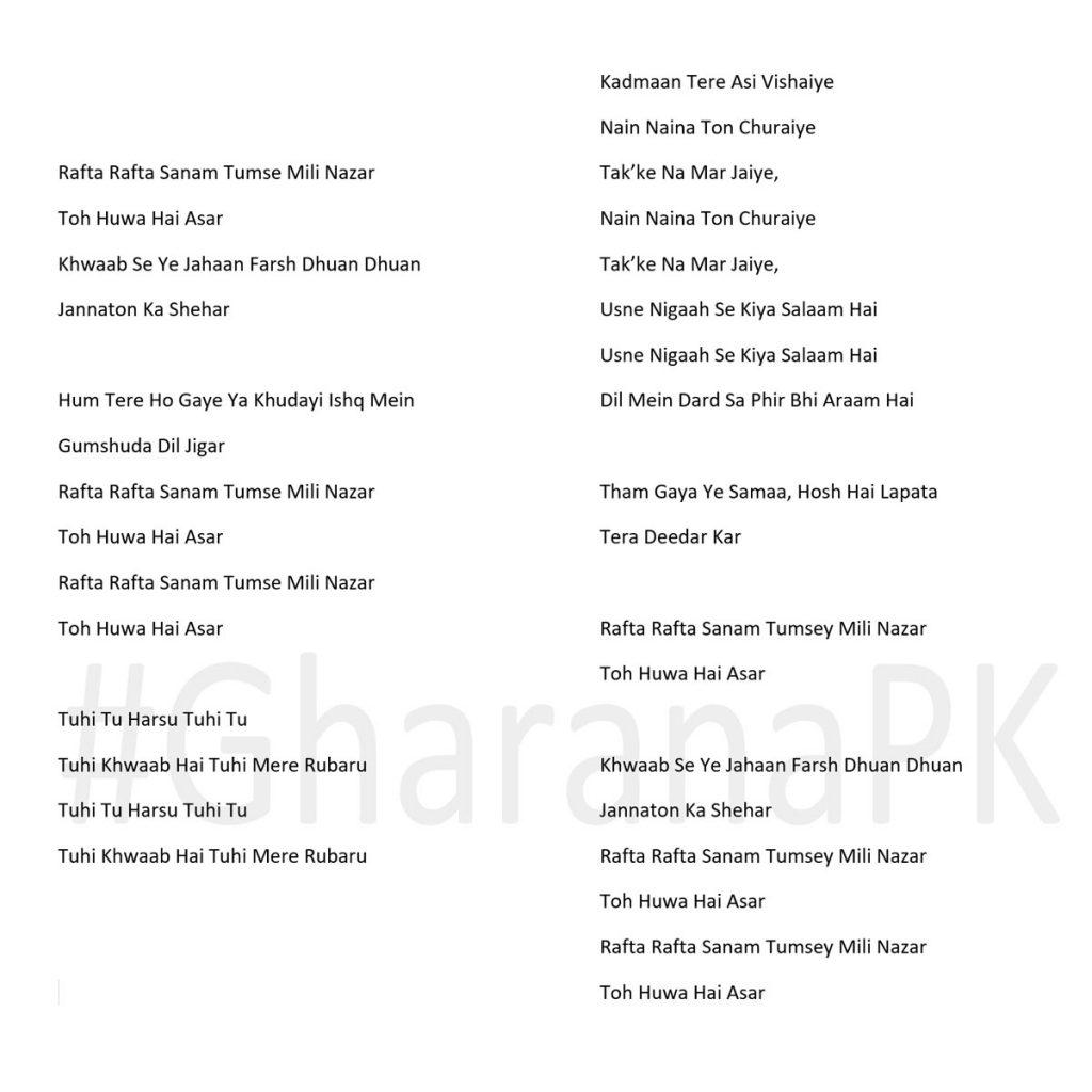 Rafta Rafta Atif Aslam Song lyrics